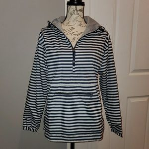 Navy and white stripe pullover jacket